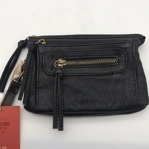 Mossimo Black Faux Leather Wristlet soft clutch